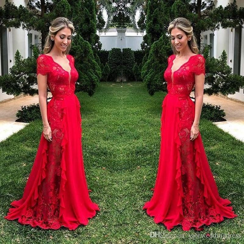 Red Lace See Through Prom Dresses 2019 Deep V Neck Chiffon A Line Evening Gowns Floor Length Zipper Back Formal Party Dress Cheap