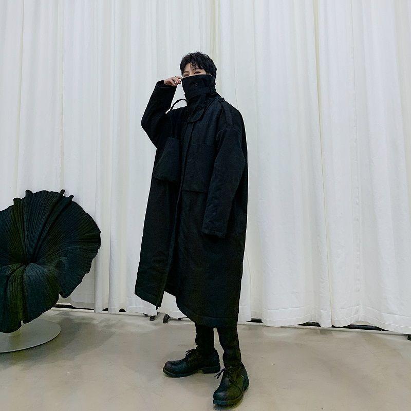 Collar de los hombres de invierno desmontable suelta gruesa capa del algodón acolchada chaqueta masculina Japón Streetwear Hip Hop largo Parka Abrigo Abrigos