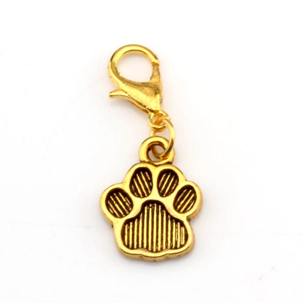 Hot sell ! 150pcs Zinc Alloy Paw Print Charm Bead with Lobster clasp Fit Charm Bracelet 11 x 29 mm DIY Jewelry Antique gold