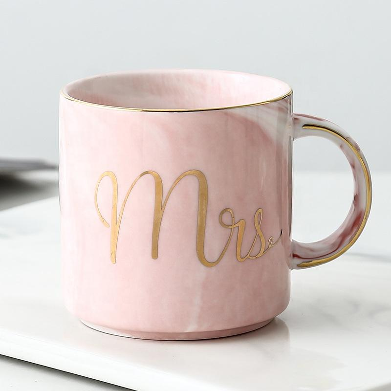 Logo Hot Sale personalizado amante Wedding Coffee Tea cerâmica Suit Cup Água Cup For Lovers presente