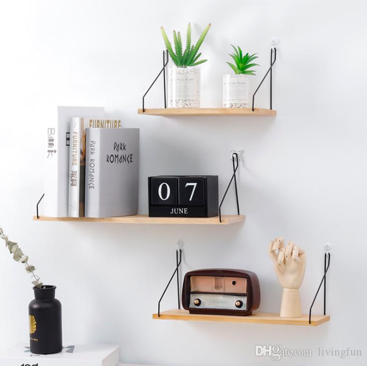 3 PCS Hexagonal Wall Floating Shelves Wood Bathrom Living Room Bedroom Office