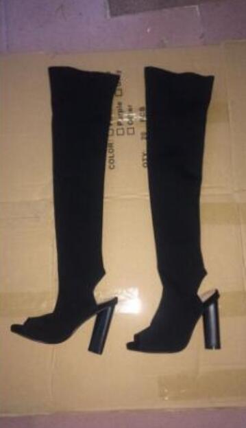 дизайнер обуви женщина высокие сапоги Beige Military Green Knit Stretch Ткань Женщины Высокий каблук сапоги Stage Nightclub платье обувь