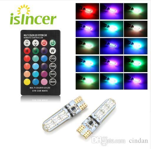2PCS 자동차 RGB LED 12V T10 LED RGB 5050 6SMD 원격 컨트롤러 독서 유니버설 쐐기 빛 신호 램프 자동차 액세서리 자동차 빛