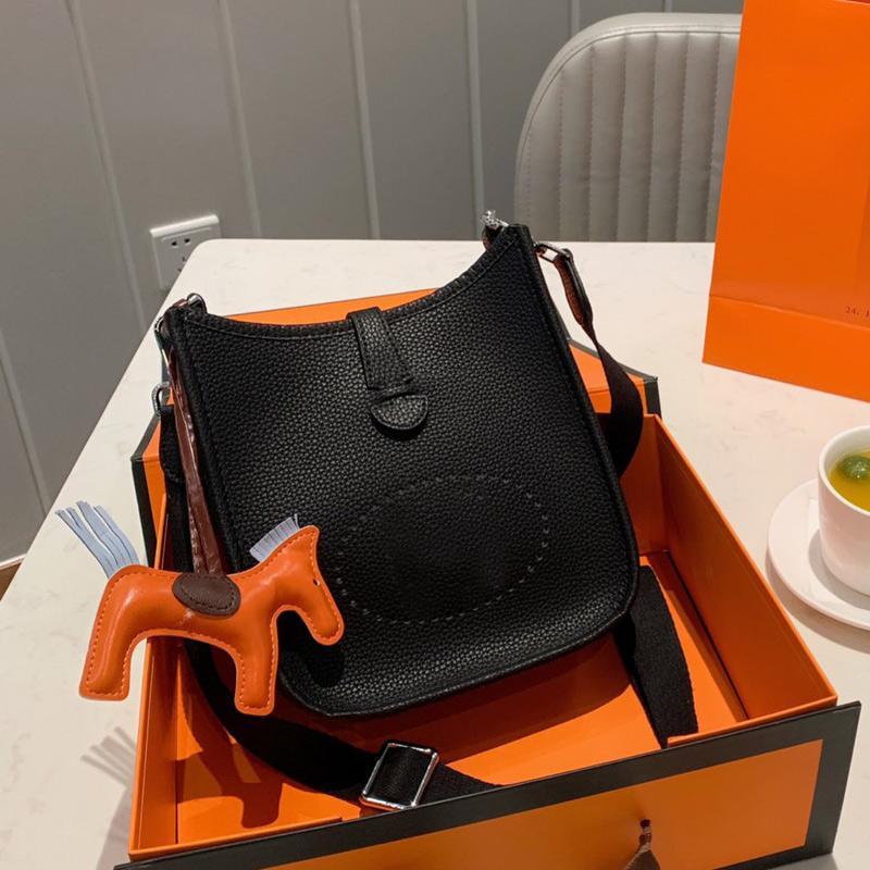 Body Bell Cross Bag Bag Single Lichi Pattern Натуральная мода H Письмо Ширина пояса Леди Классический кошелек Кожаные простые сумки сумки JDLRI