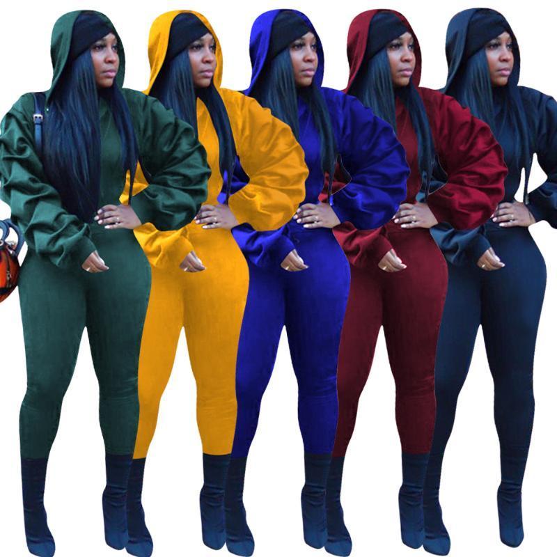 Kış Kadınlar Katı Günlük Moda Eşofmanlar Spor Kıyafetler GL8256 Set Kapşonlu Tam Fener Kol Üst Pantolon Suit İki Piece ayarlar