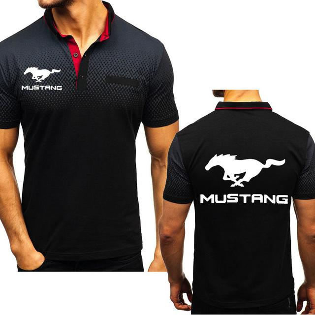 2020 neue Sommer-Männer Kurzärmeliges Mustang Car Druck hoher Qualität Baumwolle Gradient Herren Kurzarm-T-Shirt