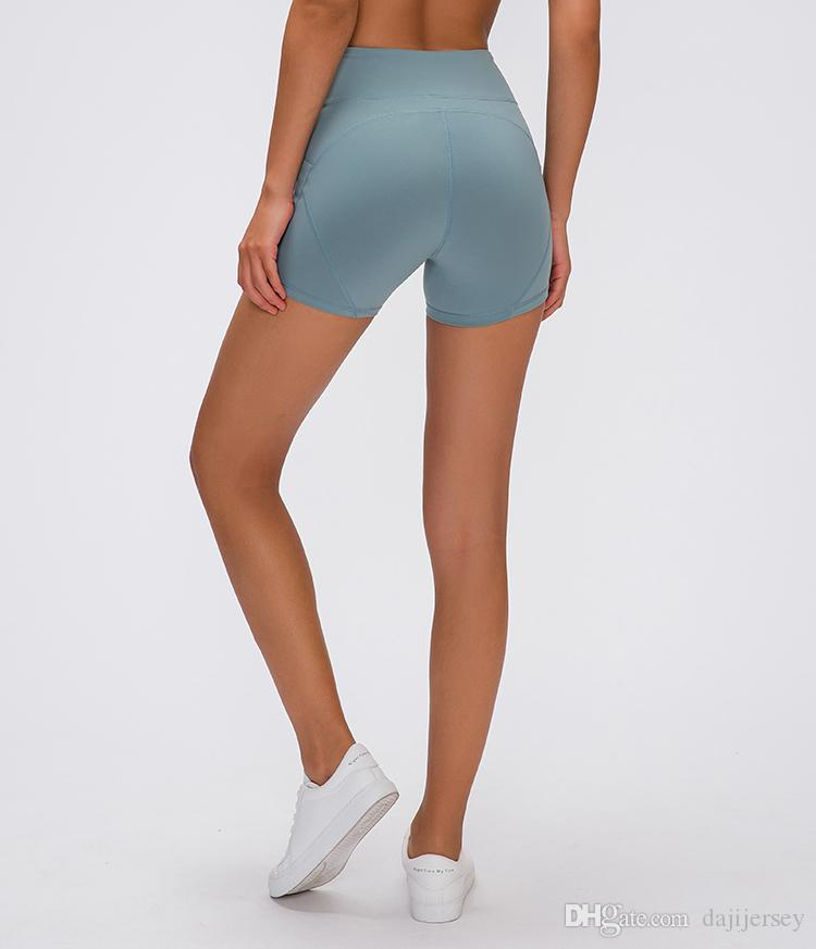 LU-02 2019 новый через высокую талию женщины йога шорты твердые спортивные тренажерный зал леггинсы эластичный фитнес леди пять очков брюки голые стрейч брюки