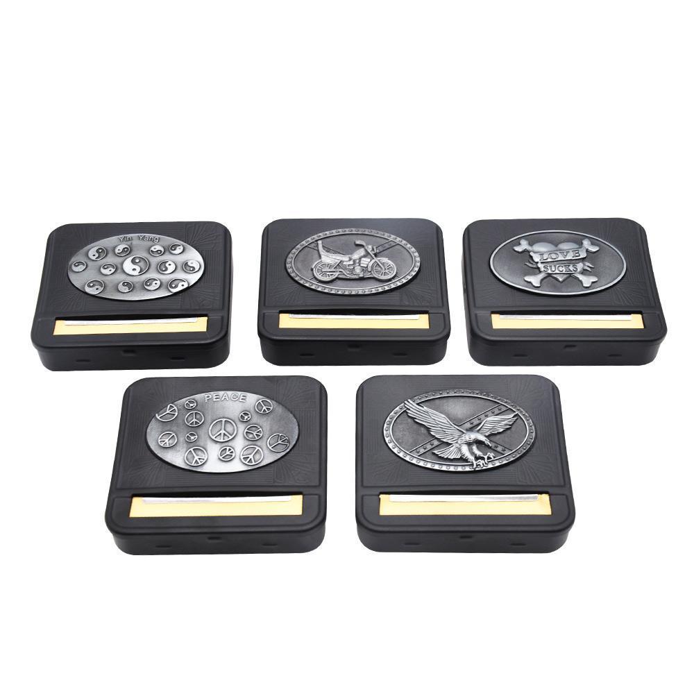 새로운 금속 스티커 블랙 메탈 자동 압연 기계 상자 케이스 흡연 담배 담배 롤러 70 mm 논문 담배 홀더 드라이 허브