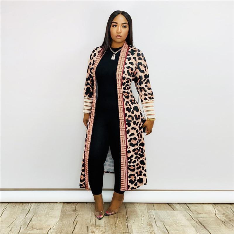 Женская Верхняя одежда конструктора Luxury Leopard Pattern Резьбовое длинным рукавом кардиган пальто мода Женская повседневная одежда весна