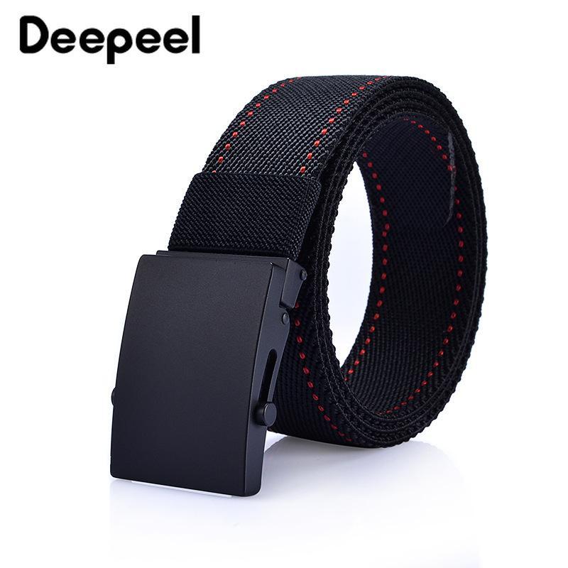 Deepeel 1pc 3.7X125cm lega fibbia automatica cintura elastica per il tempo libero uomo cintura di tela adolescente jeans all'aperto decorazione accessorio YB138