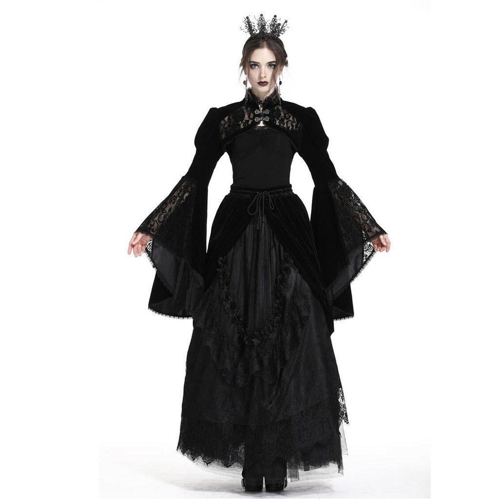 Brasão Gothic Bolero Jacket Ruffle partido do laço da luva Stage Performace Cosply curto de Darkinlove Mulheres