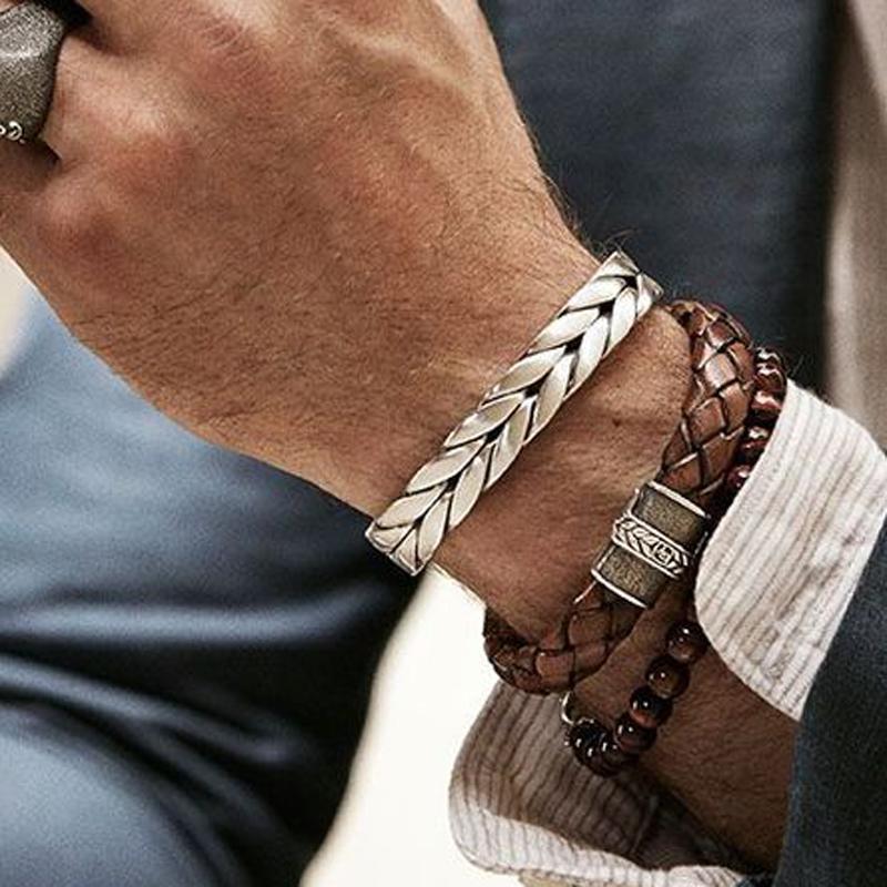 Fios Mcllroy Pulseiras Vintage trançado trança prata de aço inoxidável punho Pulseiras Pulseiras Jóias Para Homens Mulheres bileklik Y1891908