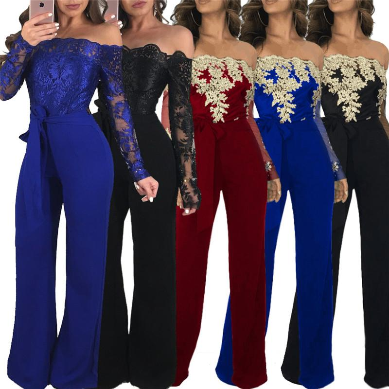 Off Shoulder Sexy Lace Jumpsuit Verano Moda Vendaje de pierna ancha Jumpsuit de manga larga elegante Bodycon Jumpsuit femenino