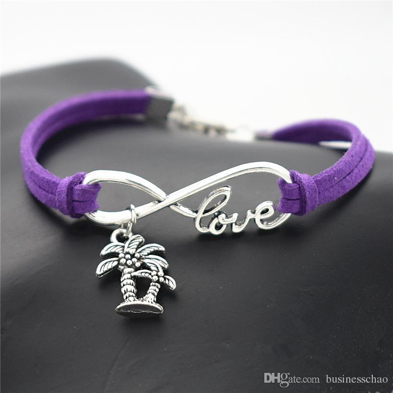 Silver Infinity Love Double Coconut Palm Tree Plant Pendants Charm fit Women Men Charm Bracelets & Bangles Purple Leather Suede Rope Jewelry