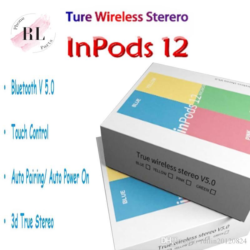 سماعات I12 توس inpods 12 بلوتوث 5.0 لسماعات الرأس مع التحكم باللمس بلوتوث السيارات الاقتران سماعة PK I10 I11 I12