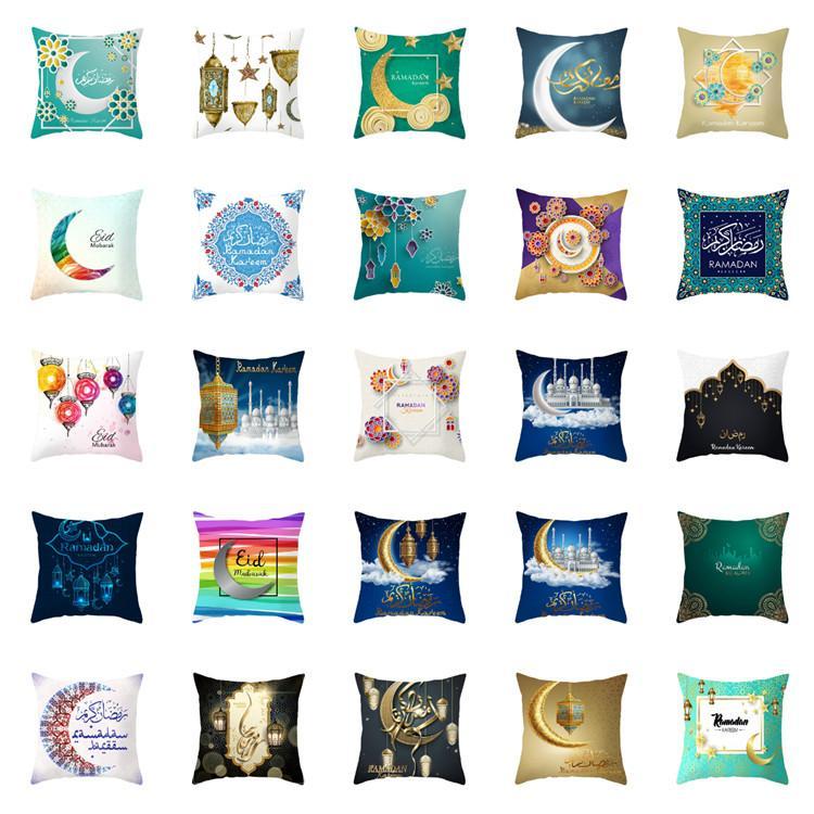 حقيبة وسادة مسلمة تغطي زينة رمضان من أجل غطاء وسادة مقعد المنزل غطاء وسادة ضوء القمر غطاء وسادة عيد T2I5865
