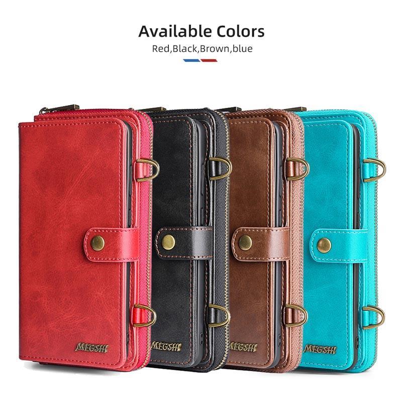 MEGSHI-020 billetera desmontable caja del teléfono de la adsorción del cuero mochila fuerte para el iPhone 6 7 8 6S Plus X XS XS Max 11 11Pro 11Pro Max