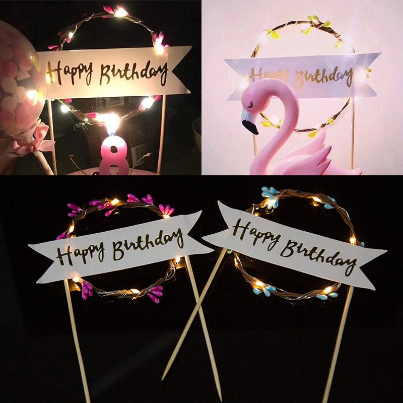 LED Flower Cupcake Cake Toppers Baby Shower Girl For Happy Birthday Cake Topper Party Decoration Suppliers Decorating Tools