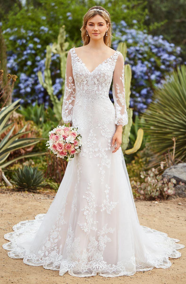 Immagini Abiti Da Sposa.Abiti Da Sposa Mermaid Wedding Dresses Long Sleeve Deep V Neckline