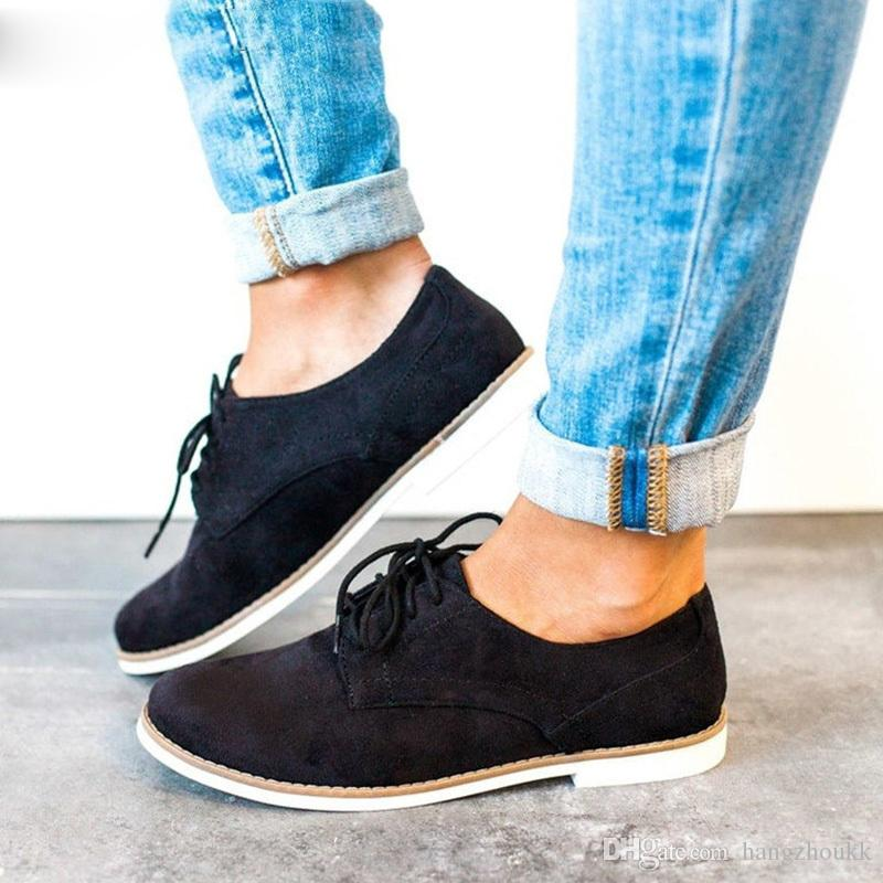 Women Vintage Lace Up Autumn Oxfords Ladies Flat Sewing Fashion Shoes Female Shallow Comfortable Casual Lightweight Footwear