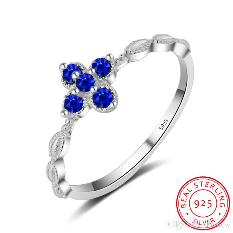 Solid 925 Silver Ring Finger Beautiful Jewelry Sweet Shiny Creative Shape BLUE zircon wedding Rings For Girl Gift Wholesale XR061