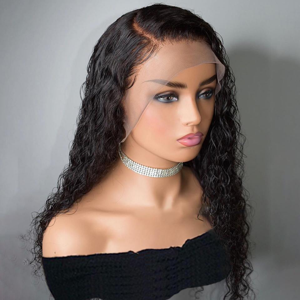 13 * 4 Dantel Ön İnsan Saç Peruk% 150% 180 360 Frontal Sassy Kıvırcık İçin Kadınlar Brezilyalı Tutkalsız Remy