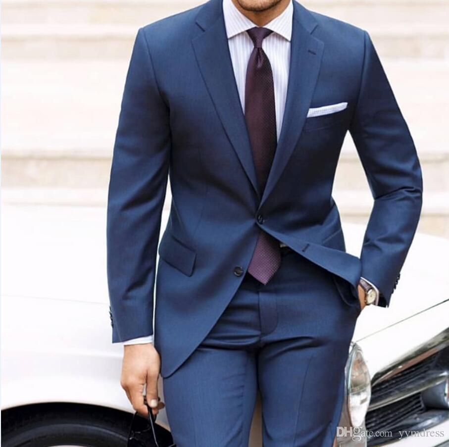 2019 Royal Blue Men Suits fallendem Revers Zwei-Knopf-Hochzeit Smoking Slim Fit Formal Porm Klage für Mann Drei Stücke (Jacket + Pants + Vest + Tie)