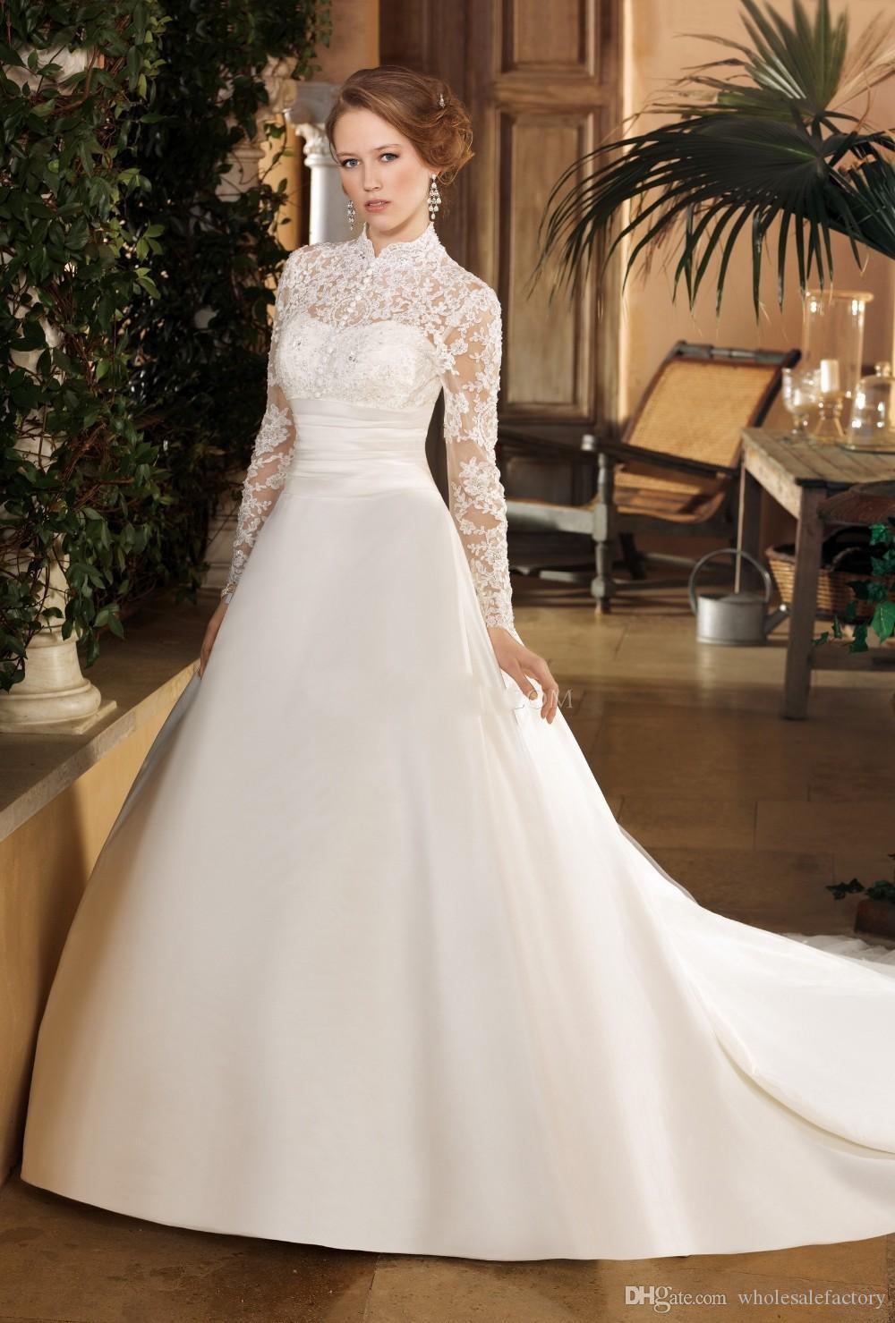 Modest Satin A Line Brautkleider High Neck Sheer Long Sleeves Tüll Spitze Applique Sweep Zug Hochzeit Brautkleider Roben de Mariée