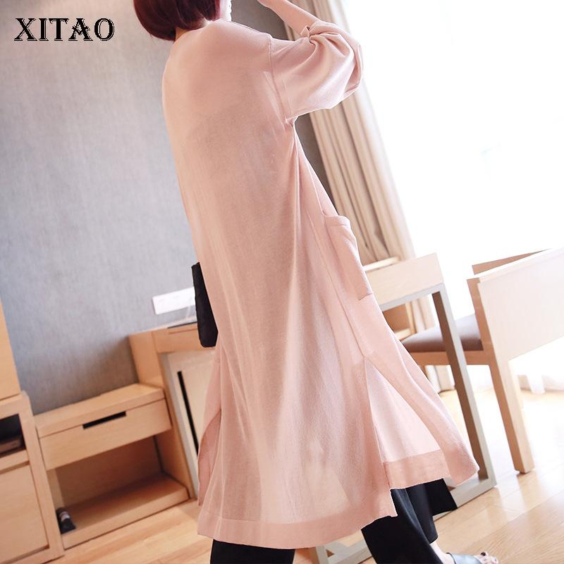 [Xitao] Korea Mode Frauen 2019 Sommer Asymmetrische Solid Color V-Ausschnitt voller Hülse Lange Patchwork Split Gelegenheits Trench LY1039