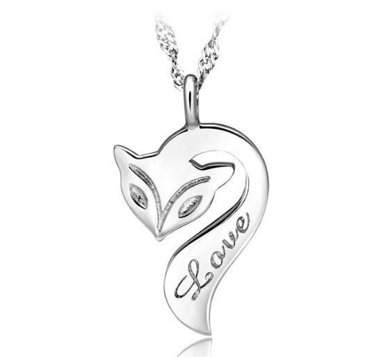 Мода-ожерелье 925 стерлингового серебро гальванического Fire Fox ожерелье Любви Шарм Подвеска Эмаль Bronze ювелирные изделия для женщин Свадебного Рождественского подарка