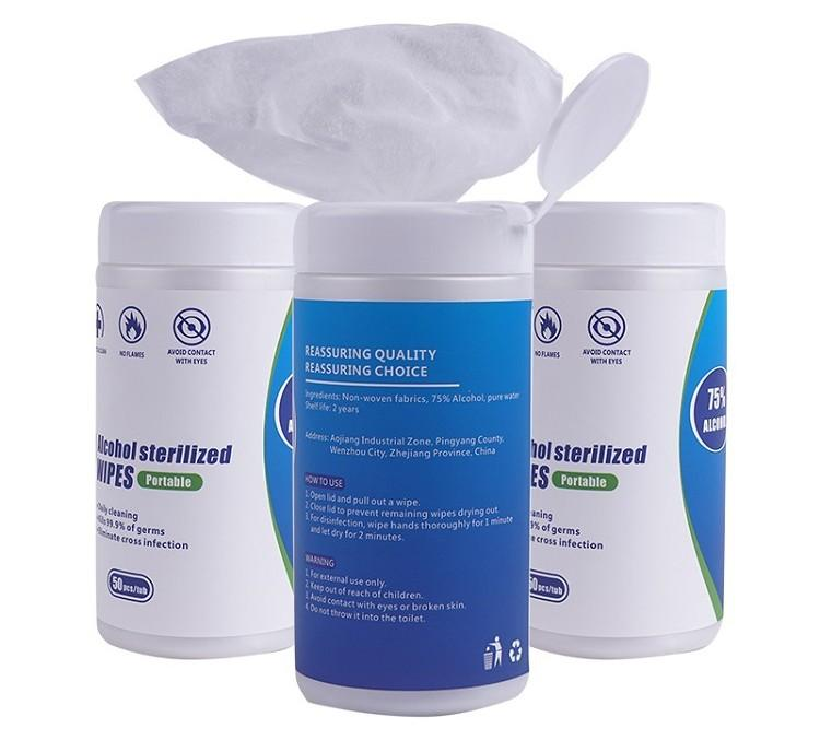 100Pcs / scatola metallica 75% di alcol bagnato salviette antibatteriche di pulizia del tessuto Sanitizer Pad mano Superficie disinfettanti Wet Pads la pulizia della pelle Wipe