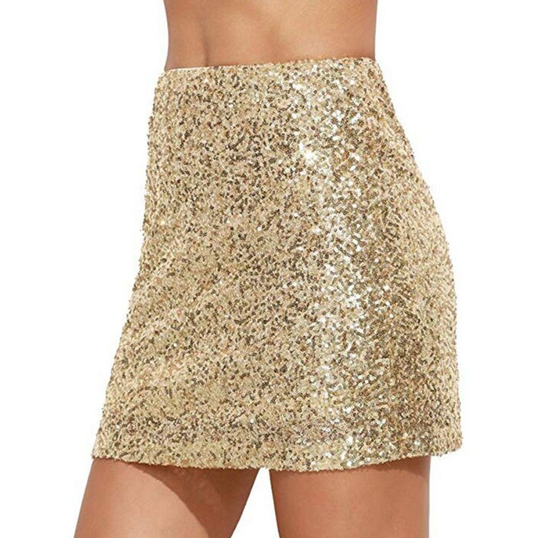 Femmes Réfléchissant Brillant Sequin Jupe Party Club Moulante Crayon Jupe Sexy Taille Haute Glitter Argent Or Mini Jupes Femme Jupe