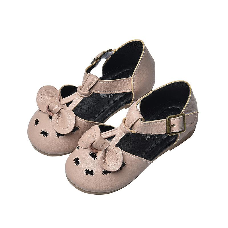 Baby Girls Summer Princess Shoes Children Cute Leather Flat Sandals Covered-toes New Kids Soft Beach Shoes SM098