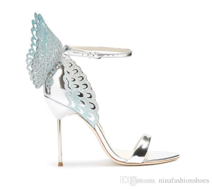 Sommer Metall Schmetterlingsflügel Frauen Hochzeit Schuhe Sexy Offene spitze High Heels Sandalen Schnalle Stiletto Heels Pumps