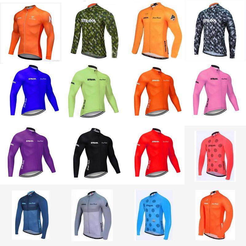 NUEVA strava del equipo de la manga larga de los hombres de ciclo de Jersey montaña de la bicicleta ropa bicicleta de carreras encabeza cómodo y transpirable de secado rápido Sportwear B61252