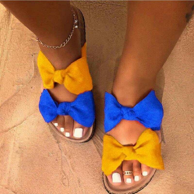 Verão Sandals Calçados Femininos Moda Leopard Bow Senhoras Slides costura dedo aberto Casual Feminino Sapatos mulher Comfort falhanços de aleta 2020