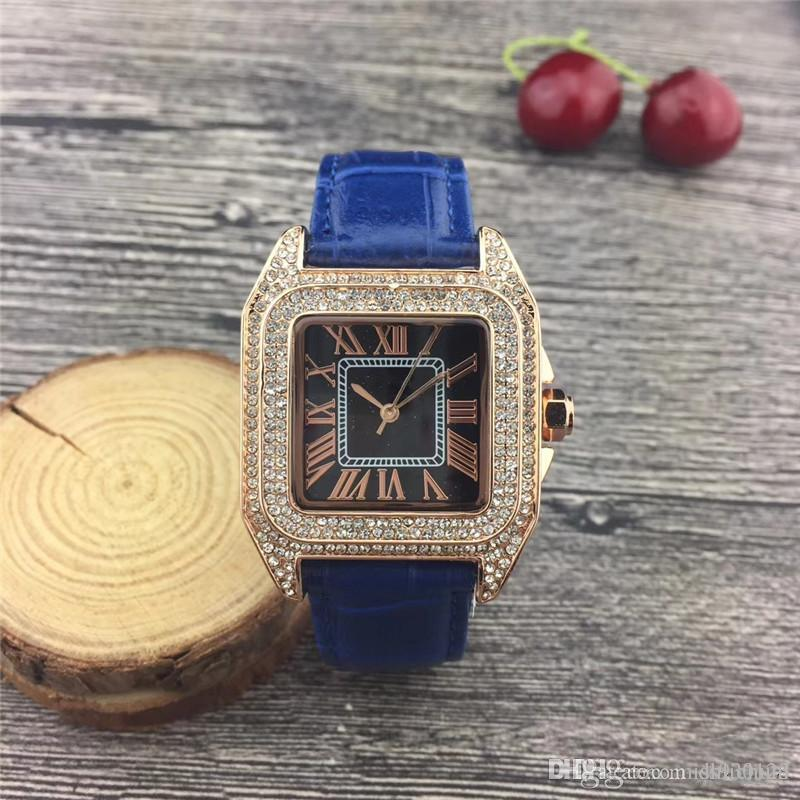 Classic model Fashion top brand luxury female watch diamond square face watch Fashion high quality free drop shipping clock