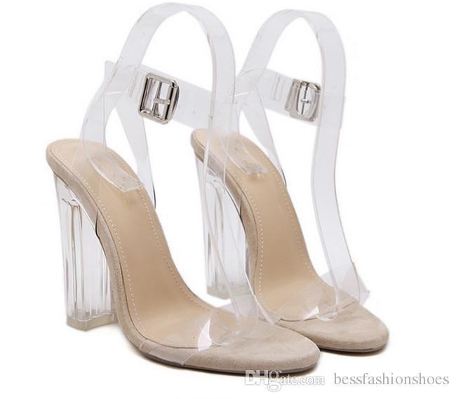 Jelly Sandals Open Toe Tacones altos Pasarela Mujeres Transparentes Verano Zapatillas de tacón grueso Sandalias transparentes dedo del pie talón atractivo sexy