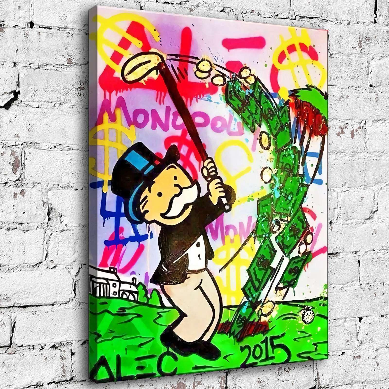 Hand-painted Alec Monopoly Oil Painting Home Decor Wall Art on Canvas Monopoly Playing Golf 24x32inch Unframed