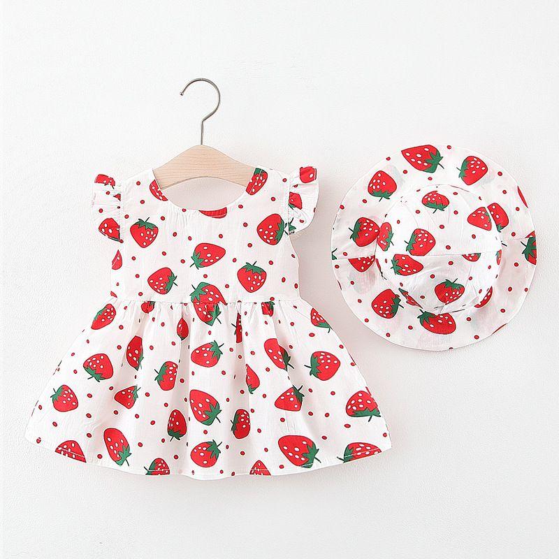 2020 estate neonate manica corta O collo fragola stampa floreale infantile sveglio Dress + Sunhat Kids Clothes vestido infantil