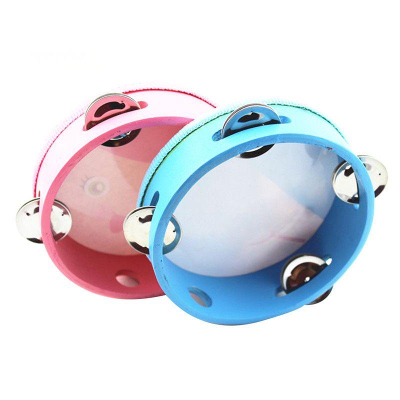 6in / 8No Handbell chocalhos Timbrel padrão dos desenhos animados Tambourine Ringing Mão Sino percussão Shakers Toy para instrumentos Orff crianças