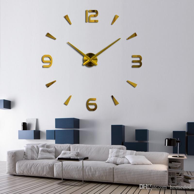 37 inç Yeni Duvar Saati Kuvars İzle Pared Modern Tasarım Büyük Dekoratif Saatler Avrupa Akrilik Çıkartma Salon Klok