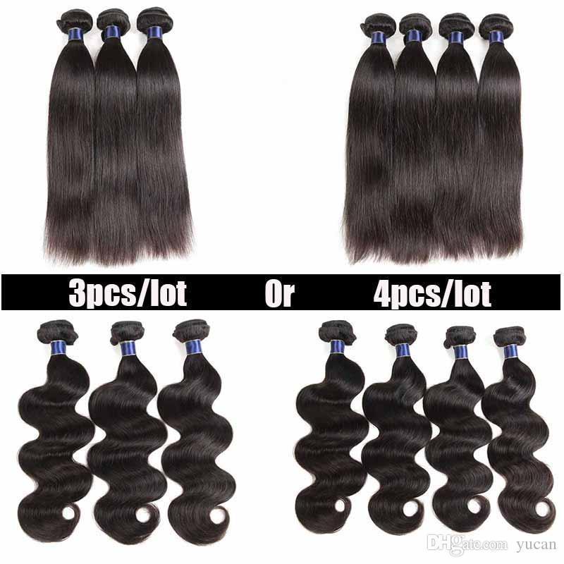Brazilian Virgin Straight Human Hair Weaves Body Wave 8-26 inch Natural Black Cheap 8A Mongolian Indian Peruvian Straight Hair Extension