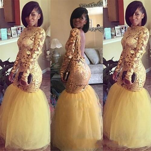 Nuovo arrivo Black Girls Prom Dresses oro merletto lungo del manicotto del Bateau di Tulle della sirena aperto indietro vestito da sera sexy