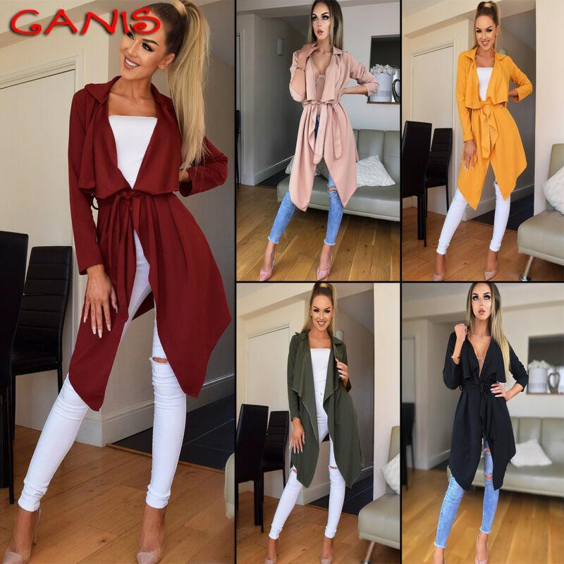 Bahar Gevşek Günlük Moda Kadınlar Hendek Uzun Kollu Örgü Hırka Gevşek Coat Coat Hendek Top eskitmek