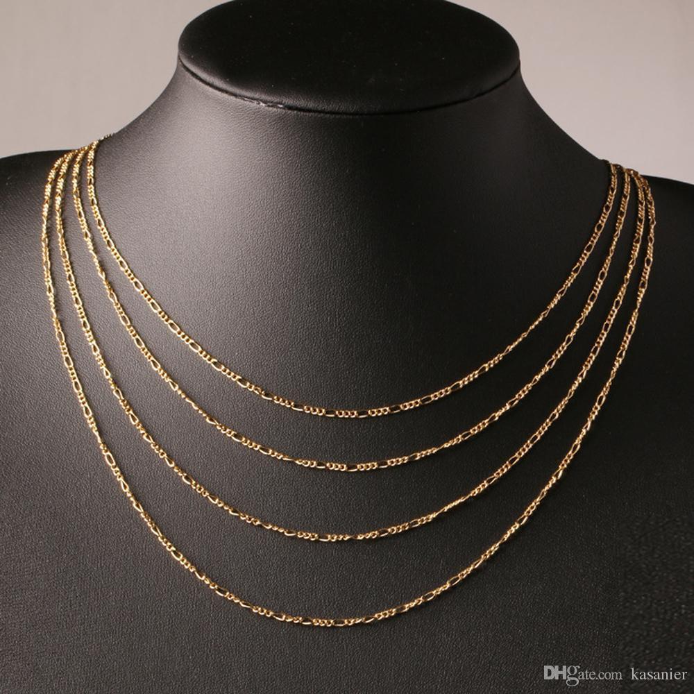 Мода 18-каратного позолоченного и стерлингового серебра 925 пробы 2 мм шириной тяжелые Figaro ожерелье женские цепи мужские