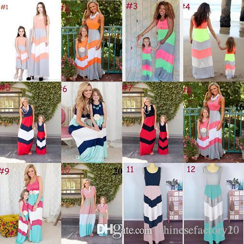 الأم ابنة مطابقة اللباس الأم وابنتها شريط فساتين الصيف أمي والطفل بلا أكمام ثوب طويل 12 الألوان