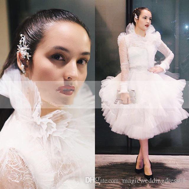 Ashi Studio 2019 Collo alto Puffy Prom Dresses con manica lunga lunghezza del tè Pizzo Abiti da cerimonia formale Occasioni Abiti da festa corta
