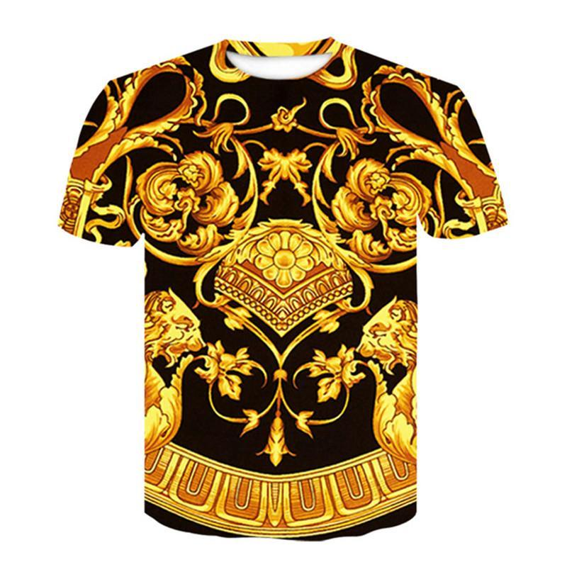 Барокко рубашка Лето T -Shirt 3d цифровой печати тенниска Мужчины Женщины Vintage Luxury Royal Цветочные печати Золотой цветок Марка тенниску Размер M-4XL