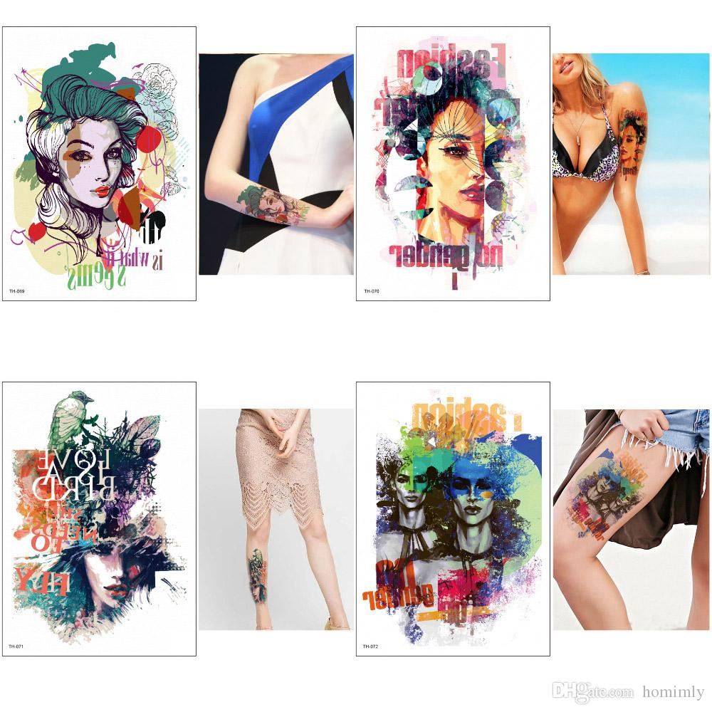 Colored Drawing Fashion Beauty Women Decal Temporary Tattoos Sticker Body Art Water Transfer Paper Waterproof For Women Men Tattoo Sticker Large Temporary Tattoo Large Temporary Tattoos For Adults From Homimly 2 84 Dhgate Com